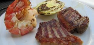 Surf & Turf Western - Bison Steak mit Riesengarnelen und Fenchel vom Grill