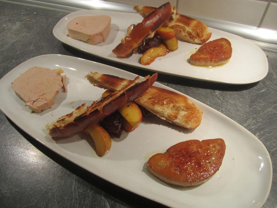 Frische Foie Gras gebraten, Foie Gras Terrine und Apfel-Dattel-Gröstl