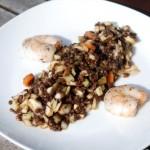 Beluga-Linsen-Salat mit Balsamico, Möhren, Fenchel und Sellerie an gegrillten Scampi