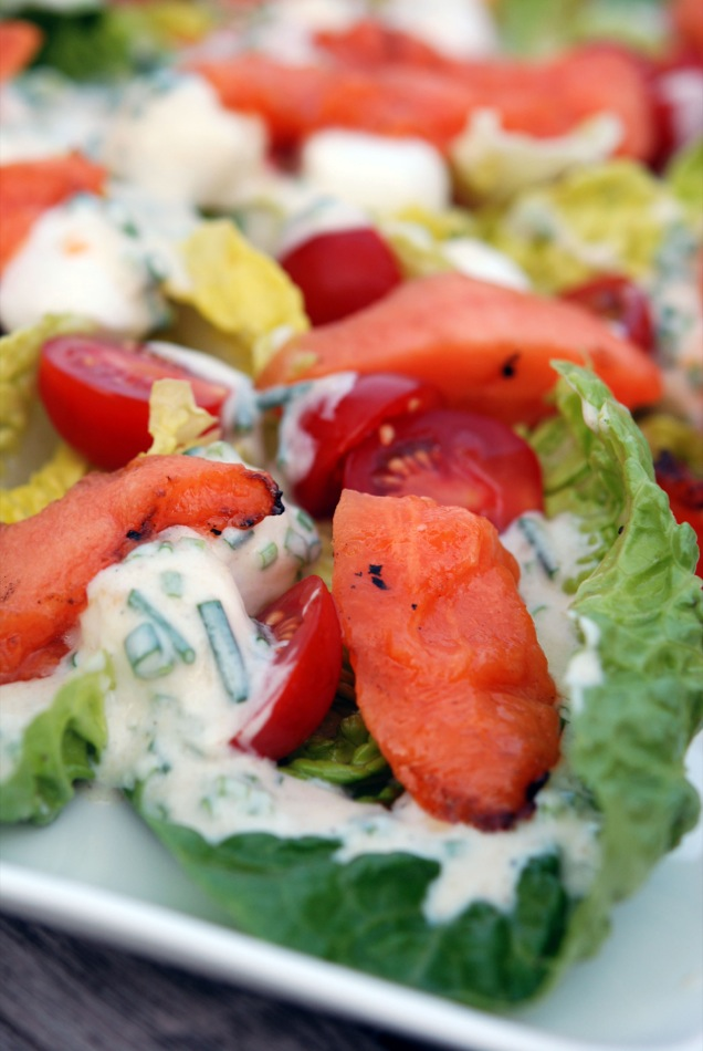 Gegrillter Melonen Salat mit Grauburgunder von der Ahr