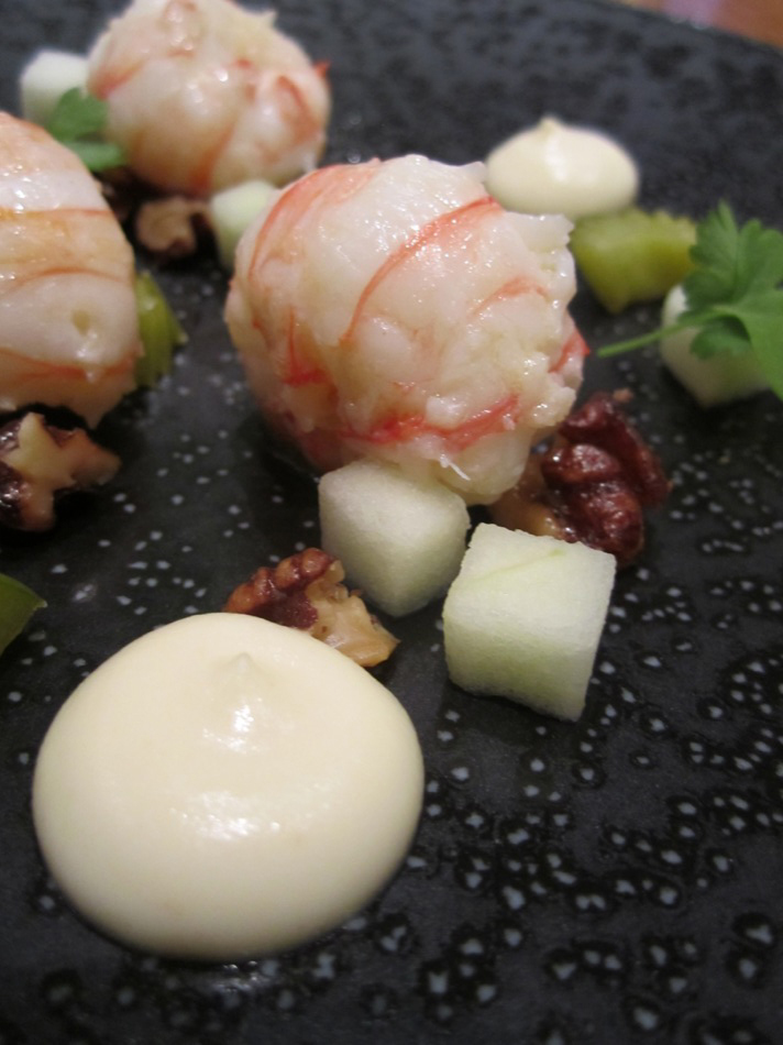 Butter Poached Balintore Langoustines Celeriac Puree, Pickled Celery, Candied Walnut, Poached Granny Smith Apples