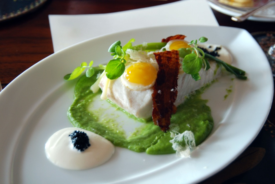 Grilled Halibut with a watercress puree, quail's egg, caviar and crispy ham