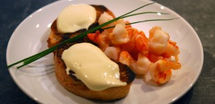 Degustationsmenü Afrika - Vorspeise Scampi & Wasabi-Mayonnaise zu Simonsig Chenin Blanc