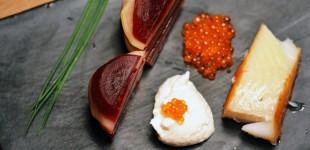 Rote & Gelbe Beete mit geräuchertem Heilbutt & Forellenkaviar
